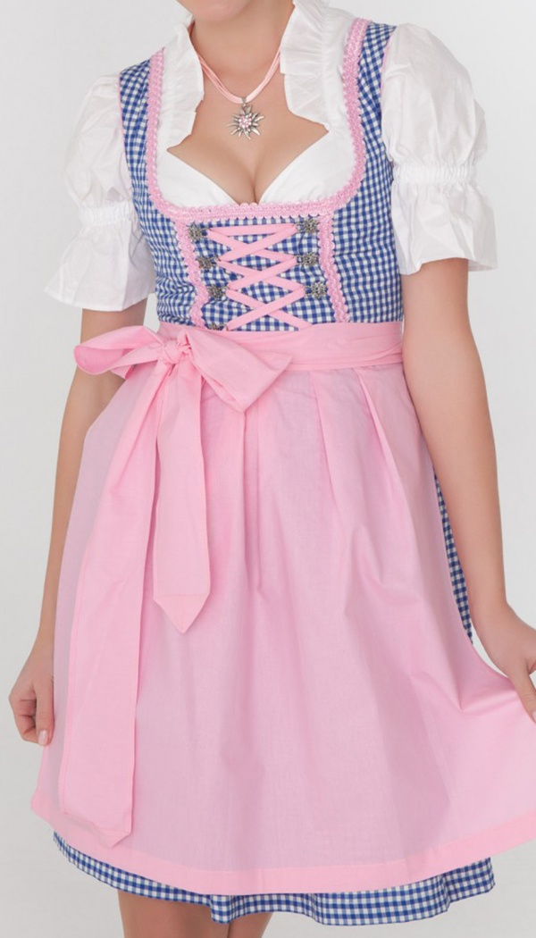 3-piece midi dirndl in blue gingham with pink apron
