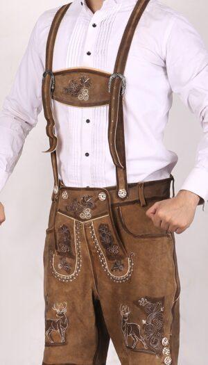 Trachten Short Lederhosen Real Shaded Brown