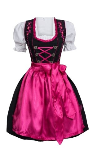 Dirndl Set Black with Pink Embroidery