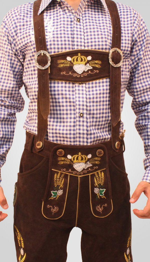 Bavarian Herren Lederhosen Dark Brown