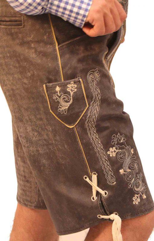 Short Plattler Lederhosen Charcoal Black