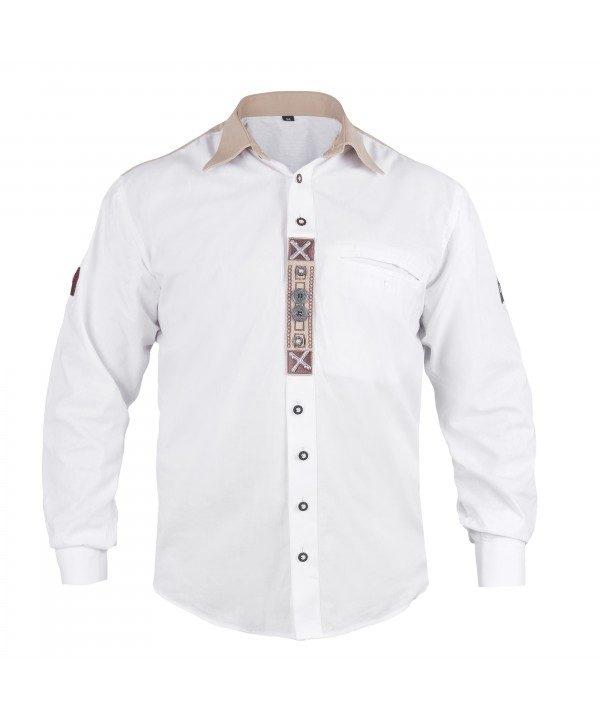 Trachten Shirt Embroidered White